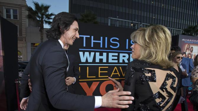 "Cast member Driver greets co-star Fonda at the premiere of ""This Is Where I Leave You"" in Hollywood"