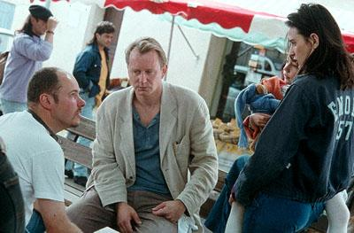 Director Alain Berliner , Stellan Skarsgard and Demi Moore on the set of Paramount Classics' Passion of Mind