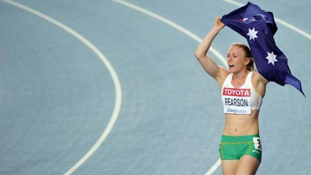 Gold medal favourite ... Sally Pearson celebrates her win at the 2011 world championships in Deagu