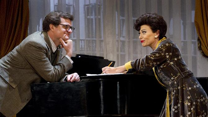 """FILE - In this undated file theater photo released by The O & M Company, Michael Cumpsty, left, and Tracie Bennett are shown in a scene from """"End of the Rainbow,"""" in New York. Producers said Tuesday, July 31, 2012 the play about Judy Garland's last days will close Aug. 19, having played a total of 176 performances at the Belasco Theatre. (AP Photo/The O & M Company, Carol Rosegg, File)"""