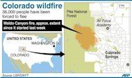 A map showing Colorado Springs in the United States where 36,000 people have been forced to flee since a wildfire started at the weekend. US firefighters reported progress Saturday in containing a deadly blaze that has killed two and left hundreds homeless in Colorado, as President Barack Obama hailed their efforts