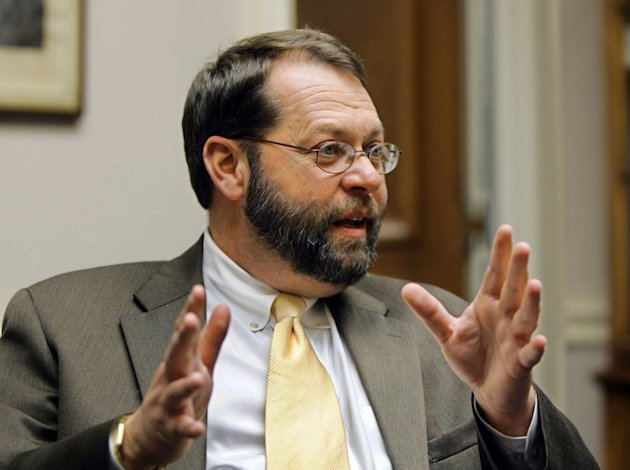 FILE - In this Nov. 17, 2004 file photo, Rep. Steven LaTourette, R-Ohio, gestures during an interview with the Associated Press in his on Capitol Hill in Washington. Citing frustration with the climate in Congress, LaTourette has announced he will retire. (AP Photo/Manuel Balce Ceneta, File)