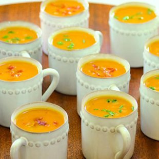 Sweet Potato Soup with Prosciutto Crisps