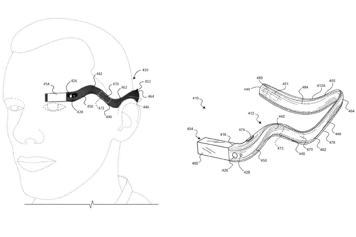 Google patents version of Glass that affixes a monocle to the end of a flexible headband