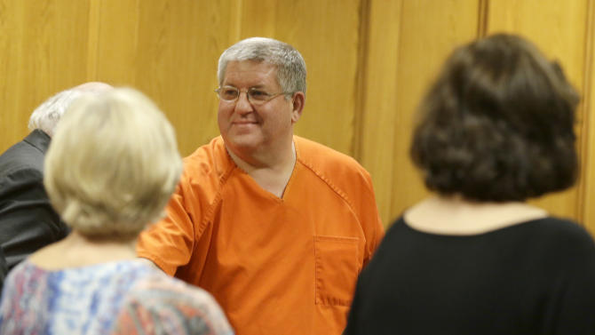 Bernie Tiede smiles after a court hearing granting his release
