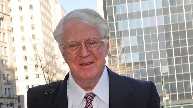 Florida energy magnate William Koch arrives at Manhattan federal court, Wednesday, March 27, 2013, in New York. Koch alleges in a federal lawsuit that California businessman Eric Greenberg sold him $300,000 in vintage wine, some of it supposedly dated to 1805, that turned out to be phony. (AP Photo/ Louis Lanzano)