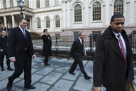 New York City mayor Bloomberg departs City Hall in New York