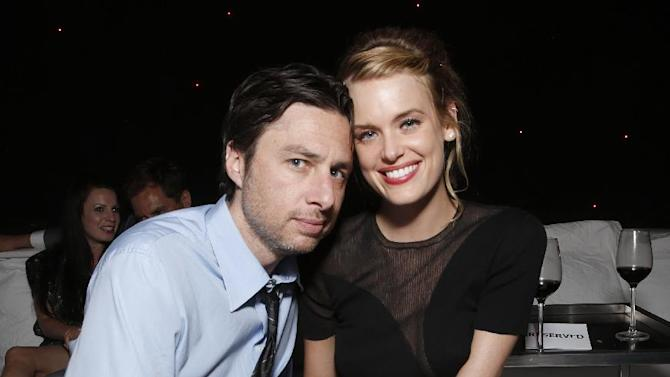 IMAGE DISTRIBUTED FOR MILLENNIUM - Zach Braff and Taylor Bagley attend the DeLeon Tequila Premiere of The Iceman After Party on Monday, April 22, 2013 in Los Angeles. (Photo by Todd Williamson/Invision for Millennium/AP Images)