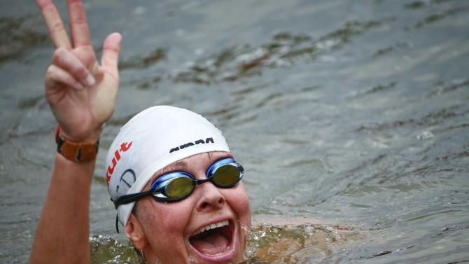 Maurer of Germany celebrates her bronze medal in the women's 25km open water race at the 16th FINA World Championships in Kazan