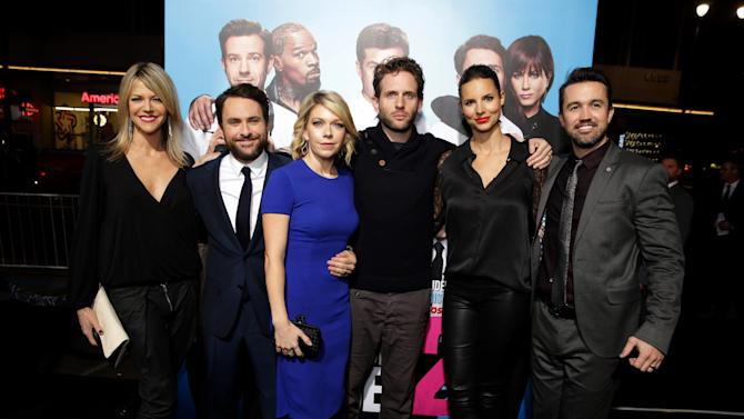 "Kaitlin Olson, Charlie Day, Mary Elizabeth Ellis, Glenn Howerton, Jill Latiano and Rob McElhenney seen at the Los Angeles Premiere of New Line Cinema's ""Horrible Bosses 2"" on Thursday, Nov 20th, 2014, in Los Angeles. (Photo by Eric Charbonneau/Invision for Warner Bros./AP Images)"