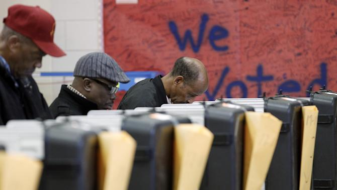 Voters cast their ballots in the general election at Ridgecrest Elementary, in Hyattsville, Md. on Tuesday, Nov. 6, 2012.  (AP Photo/Jose Luis Magana)