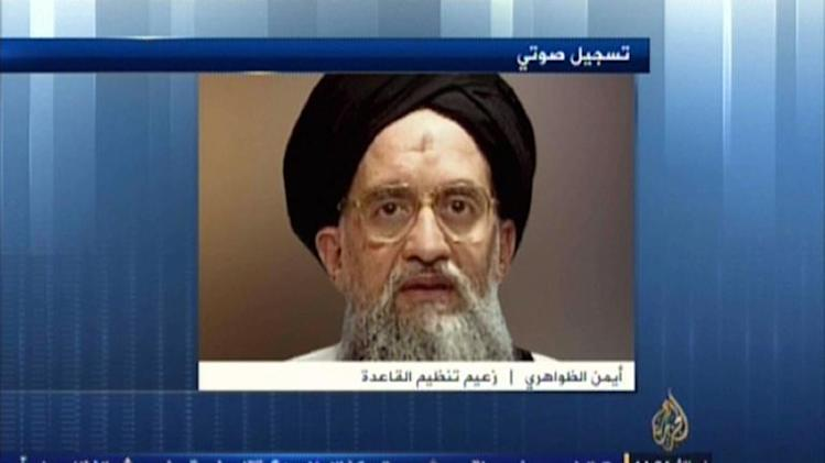 An image taken from Al-Jazeera media network on November 8, 2013 shows a portrait of Al-Qaeda chief Ayman al-Zawahiri