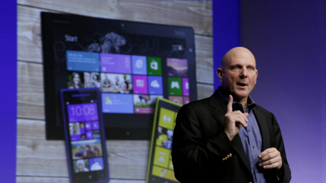 Microsoft CEO Steve Ballmer gives his presentation at the launch of Microsoft Windows 8, in New York,  Thursday, Oct. 25, 2012. Windows 8 is the most dramatic overhaul of the personal computer market's dominant operating system in 17 years. (AP Photo/Richard Drew)