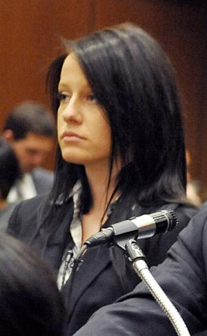 FILE - This Dec. 2, 2009 file photo shows Courtney Leigh Ames, 19, appearing in court in Los Angeles. Ames pleaded no contest Friday Dec. 14, 2012 to receiving a jacket stolen from heiress Paris Hilton. A Los Angeles judge sentenced Ames to three years of supervised probation on Friday Feb. 1, 2013. Ames pleaded no contest to receiving a jacket stolen from Paris Hilton's home. (AP Photo/Nick Ut, file)