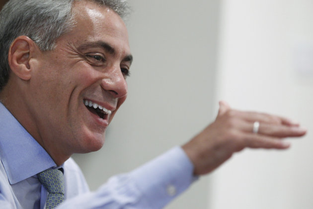 FILE - This Aug. 9, 2011, file photo, shows Chicago Mayor Rahm Emanuel during an interview with The Associated Press at his office in Chicago. Emanuel, a former dancer, said Chicago has everything it needs to become a dance center, and is bringing his longtime passion for dance to his new job as mayor. (AP Photo/M. Spencer Green, File)