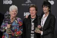 Small Faces/Faces members Ian McLagan, Kenney Jones and Ronnie Wood appear in the press room after induction into the Rock and Roll Hall of Fame Rock and Roll Hall of Fame Friday, April 13, 2012, in Cleveland. (AP Photo/Amy Sancetta)