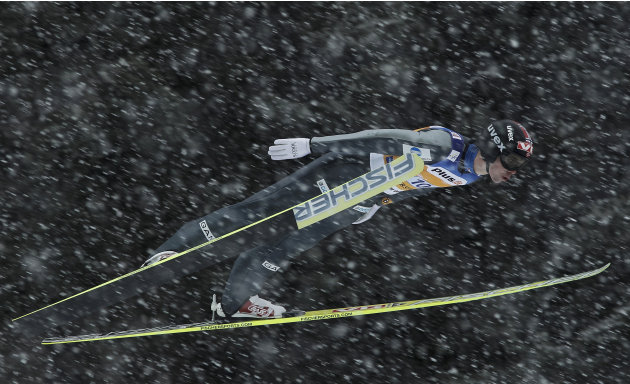 Norway's Anders Bardal competes during the FIS Men's Ski Jumping Team World Cup at Oberstdorf, southern Germany, on February 19, 2012. AFP PHOTO / GUENTER SCHIFFMANN (Photo credit should read GUENTER