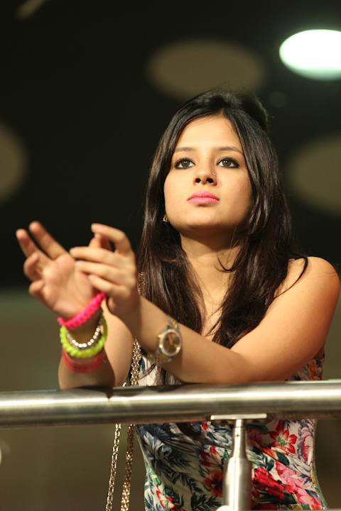 Sakshi Dhoni watches her husband's side - the Chennai Super Kings during their match against the Kolkata Knight Riders  at the Eden Gardens Stadium in Kolkata on the 20th April 2013. Photo by Saik