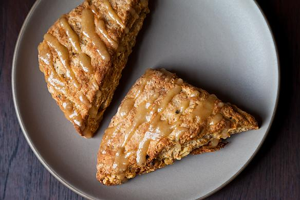 Walnut Fig Scones with Brown Butter Maple Glaze