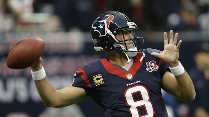 Houston Texans quarterback Matt Schaub warms up before an NFL wild card playoff football game against the Cincinnati Bengals Saturday, Jan. 5, 2013, in Houston. (AP Photo/Eric Gay)