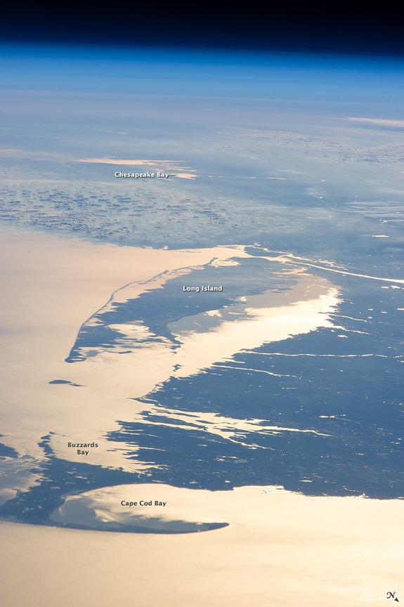 'Sunglint' Silhouettes Northeast Coast in Astronaut Photo