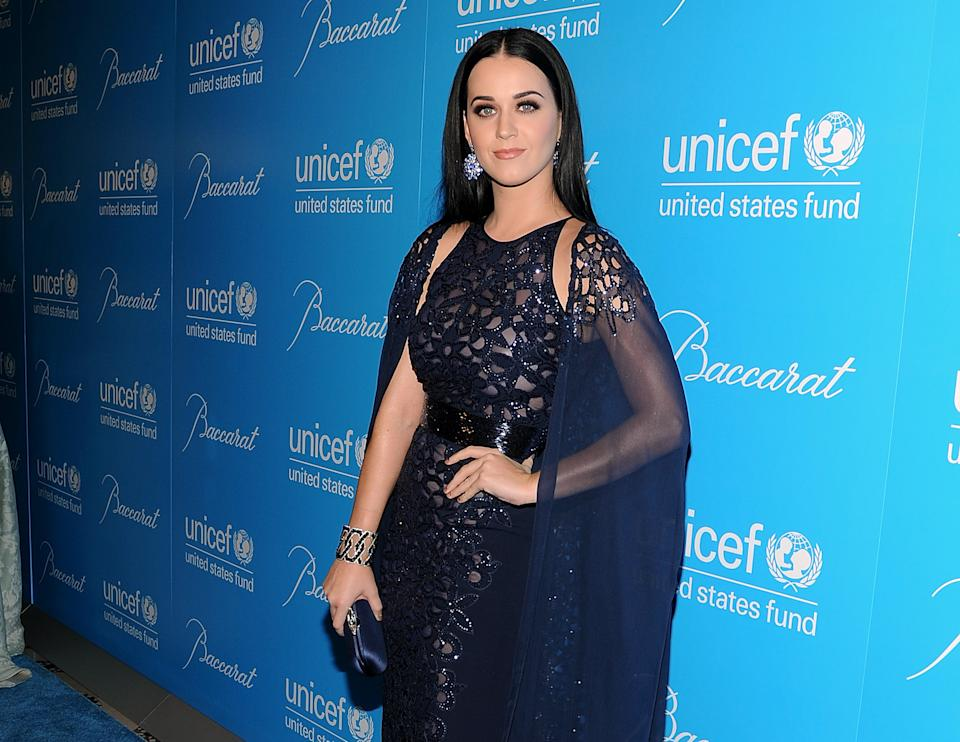 Singer Katy Perry attends the 8th Annual UNICEF Snowflake Ball at Cipriani 42nd Street on Tuesday Nov. 27, 2012 in New York. (Photo by Evan Agostini/Invision/AP)