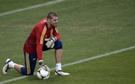Spanish goalkeeper Victor Valdes pictured during a training session in Donetsk, Ukraine, on June 22, 2012 on the eve of their Euro 2012 quarter-final against France. Barcelona 'keeper Valdes stunned the Liga leaders by informing them he will not renew his contract when it expires next year before they even had a chance to make an offer, officials said Friday