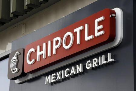 Sign is seen at a Chipotle Mexican Grill restaurant in San Francisco, California