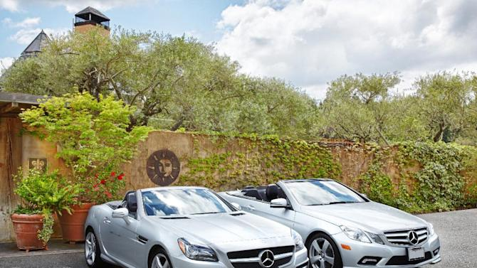 In this undated image released by Auberge du Soleil, the guests of Auberge du Soleil can select from a fleet of Mercedes-Benz vehicles, including the two cars seen here, to cruise the Napa Valley roads in Rutherford, Calif. A variety of activities and hotel packages are being offered in California wine country that are designed specifically to appeal to men.(AP Photo/Auberge du Soleil, Trinette Reed)