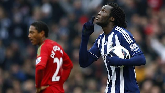 West Bromwich Albion's Romelu Lukaku celebrates his goal against Swansea City (Reuters)