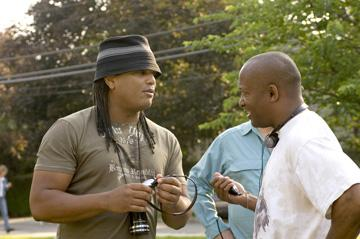 Writer/director Franc. Reyes and producer John Singleton on the set of Universal Pictures' Illegal Tender