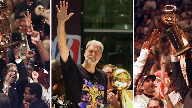"FILE - At left, in a June 13, 1997, file photo, Chicago Bulls coach Phil Jackson hoists the NBA Championship trophy aloft after the Bulls beat the Utah Jazz 90-86 in Game 6 of the NBA Finals. in Chicago. At center, in a June 21, 2000 file photo, Los Angeles Lakers head coach Phil Jackson waves to the crowd as the Lakers and thousands of their fans celebrate their NBA Championship in downtown Los Angeles. At right, in a June 16, 1996 file photo, Chicago Bulls coach Phil Jackson hoists the NBA championship trophy after the Bulls beat Seattle in Game 6 of the NBA Finals in Chicago. Carmelo Anthony says he has heard that 11-time NBA champion coach Phil Jackson will be ""coming on board"" in a leadership capacity with the New York Knicks, though cautioned that nothing is yet official. Anthony made the comments Wednesday, March 12, 2014, to reporters in Boston, where the Knicks are playing the Celtics. (AP Photo/File)"