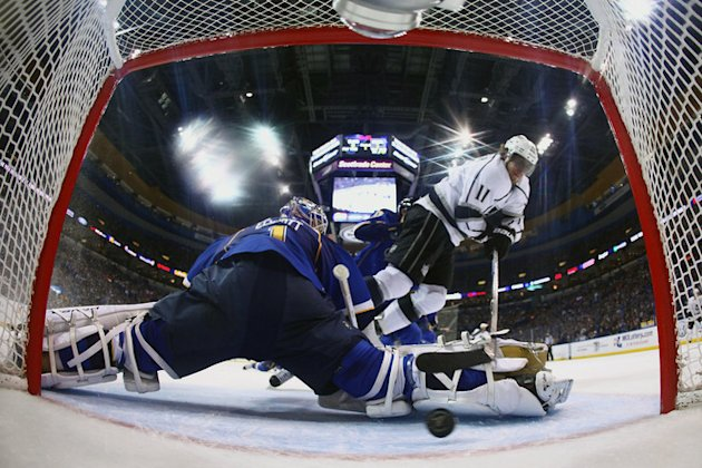 Anze Kopitar #11 Of The Los Angeles Kings Scores A Goal Against Brian Elliott #1 Of The St. Louis Blues In Game Two Of Getty Images