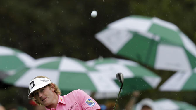 Brandt Snedeker chips to the eighth green during the fourth round of the Masters golf tournament Sunday, April 14, 2013, in Augusta, Ga. (AP Photo/Matt Slocum)
