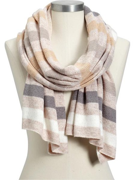Women's multi-stripe sweater-knit scarf in neutral stripe