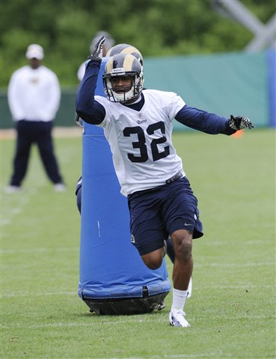 St Louis Ram's Brandon McGee (32) runs a drill during NFL football practice, Thursday, May, 23, 2013, at the team's training facility in St. Louis