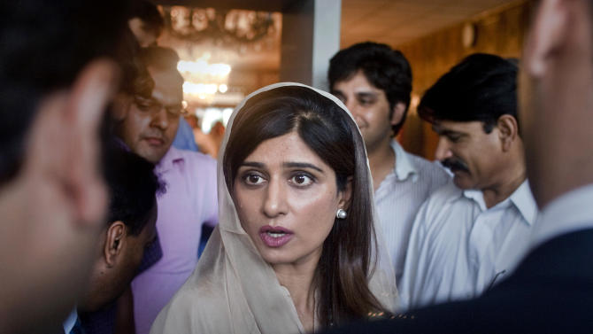 FILE - In this Monday, May 14, 2012, file photo, Pakistan's Foreign Minister Hina Rabbani Khar, talks to reporters in Islamabad, Pakistan. Pakistan has stepped up outreach to some of its biggest enemies in Afghanistan, a significant policy shift that could prove crucial to U.S.-backed efforts to strike a peace deal in the war-torn country. The target of the diplomatic push has mainly been non-Pashtun political leaders who have been at odds with Pakistan for years because of the country's historical support for the Afghan Taliban, a Pashtun movement. (AP Photo/Anjum Naveed, File)
