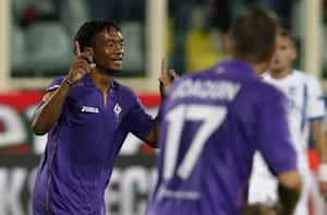 Fiorentina's Cuadrado celebrates after scoring against Pandurii Targu-Jiu during their Europa League soccer match at the Artemio Franchi stadium in Florence