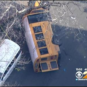 Cab, School Bus Collide Causing Bus To Flip