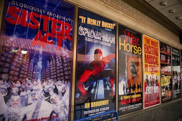 FILE- This Jan. 19, 2012 file photo shows posters advertising Broadway shows, including the now closed &quot;Sister Act,&quot; are displayed in Shubert Alley, in New York. The percentage of minority actors working on Broadway and at the top 16 not-for-profit theater companies in New York City rose to 23 percent during the 2011-2012 season. (AP Photo/Charles Sykes, file)