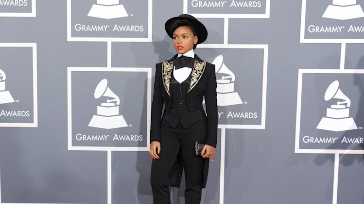 Janelle Monae arrives at the 55th annual Grammy Awards on Sunday, Feb. 10, 2013, in Los Angeles.  (Photo by Jordan Strauss/Invision/AP)