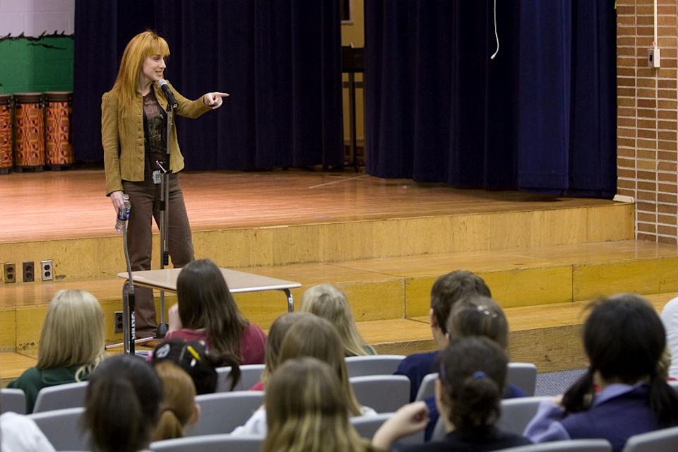 Kathy Griffin performs at Roosevelt Middle School in River Forest, IL. on Kathy Griffin: My Life On The D-List.
