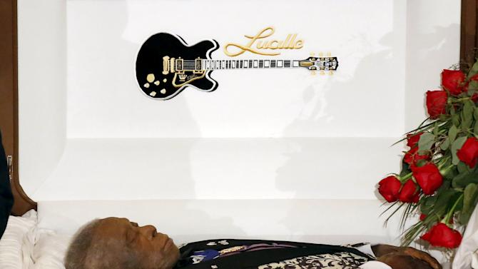 B.B. King is seen in his open casket during his funeral in Indianola, Mississippi