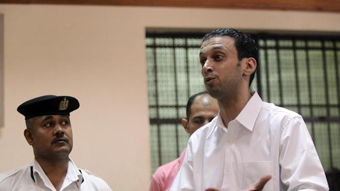 Jordanian telecoms engineer Bashar Ibrahim Abu Zeid, charged with spying for the Jewish state's intelligence services, attends the opening session of his trial at a court in Cairo, October 2, 2011