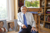 "This Sept. 27, 2012 photo shows singer Tony Bennett posing for a portrait among his artwork at his studio in New York. Bennett is releasing his second duets album with various Latin musicians, ""Viva Duets,"" on Monday, Oct. 22. (Photo by Amy Sussman/Invision/AP)"
