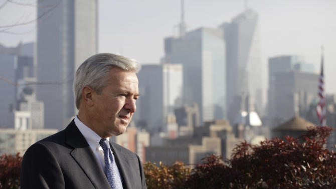 In this Monday, Dec. 3, 2012, photo, John Stumpf, Chairman, President and CEO of Wells Fargo, talks during an interview, in New York. Stumph, one of the few CEOs who kept his job as peers fell after the 2008 financial crisis, is a strategist who expanded his company while others shrank theirs. Stumph says Wells Fargo's vanilla business model of making loans and taking deposits has kept it above the fray while exotic derivatives and other risky practices have bludgeoned rivals. (AP Photo/Mark Lennihan)