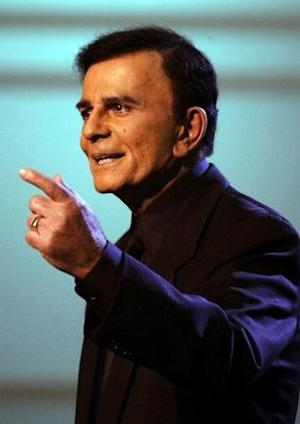 """US television and radio personality Casey Kasem appears on the """"American Top 40 Live"""" show in Los Angeles."""