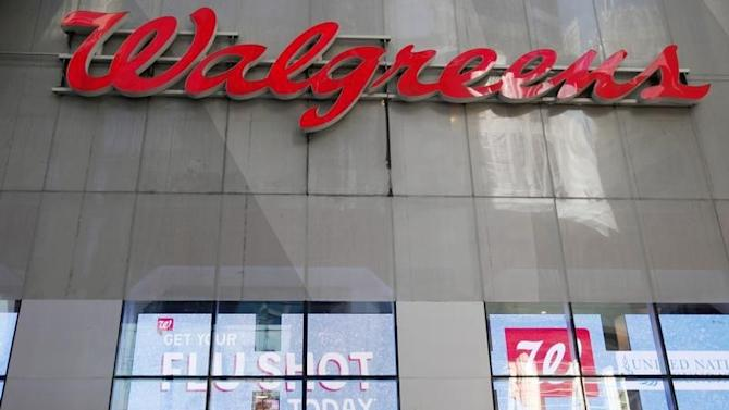 A Walgreens logo is seen outside its store in New York City