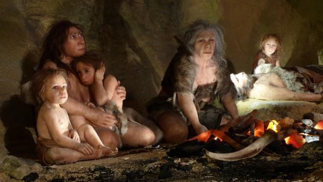 An exhibit at the Neanderthal Museum in Croatia shows a day in the life of a typical, incestuous family.