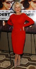 "Helen Mirren glams it up in red at ""The Debt"" screening in New York City on August 22, 2011  -- Getty Images"